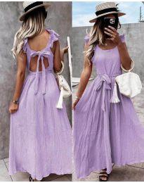 Дълга рокля с ефектен гръб в лилаво - код 4806