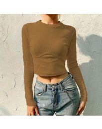 Къса дамска блуза в кафяво - код 1124