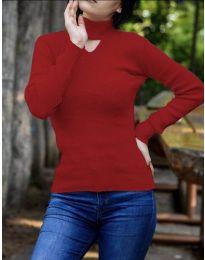 Дамска блуза с поло яка в червено - код 5191