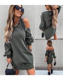 Дамска рокля в маслено зелено - код 296