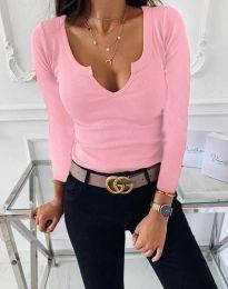 Изчистена дамска блуза в розово - код 875