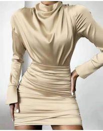 Елегантна дамска рокля в бежово - код 8257