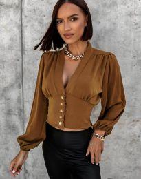 Екстравагантна дамска риза в кафяво - код 2732