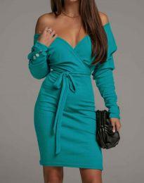 Дамска рокля в цвят тюркоаз - код 4765
