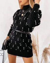 Стилна дамска рокля в черно - код 3904