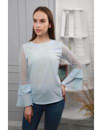 Ефирна дамска блуза в светло синьо - код 0643