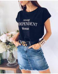 Дамска тениска в черен цвят с принт - код 3588
