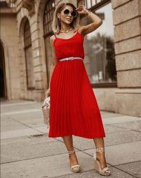 Кокетна плисирана рокля в червено - код 1249