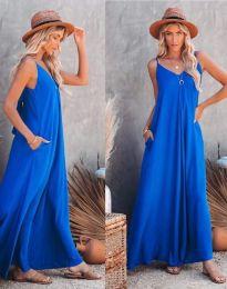 Свободна дамска рокля в синьо - код 4673