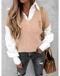 Дамски пуловер в цвят пудра с риза - код 6653