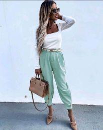 Дамски панталон с колан в цвят мента - код 2109