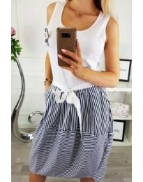 Бяла рокля с моряшки десен - код 535