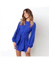 Изчистена рокля с дълги ръкави в синьо - код 355