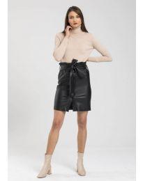 Дамска блуза с поло яка в бежово - код 0055