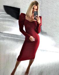 Стилна дамска рокля в цвят бордо - код 3865