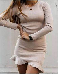 Изчистена рокля с дълги ръкави в бежово - код 3630