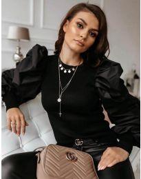 Черна блуза с бухнали ръкави с набори - код 3506