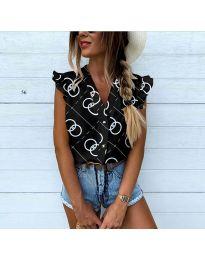 Дамска риза в черно с атрактивен десен - код 458