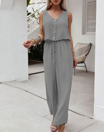 Свободен дамски комплект потник и панталон в сиво - код 6929