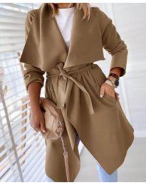Свободно палто в цвят капучино - код 8778