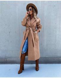 Дълго дамско палто в цвят капучино - код 5877