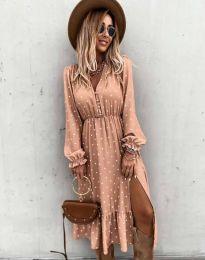 Атрактивна дамска рокля в цвят пудра - код 2834