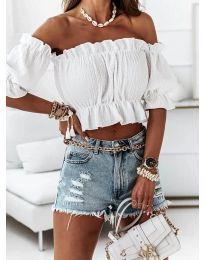 Дамска блуза с голи рамене в бяло - код 11898