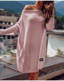 Свободна дамска рокля в цвят пудра - код 1040