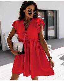 Свободна рокля в  червено - код 2093