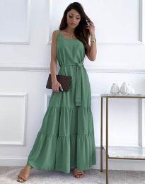 Дълга дамска рокля в цвят мента - код 2578