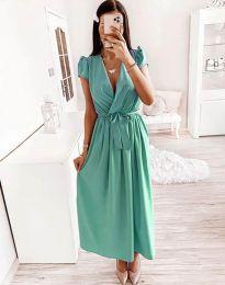 Свободна дамска рокля в цвят тюркоаз - код 2455