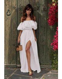 Дълга рокля с цепка в бяло - код 3336