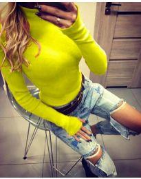 Дамска блуза с поло яка в неоново жълто - код 5256