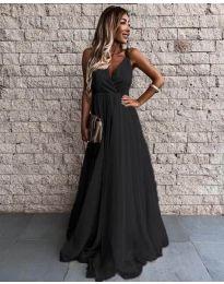 Дълга дамска рокля в черно - код 5244