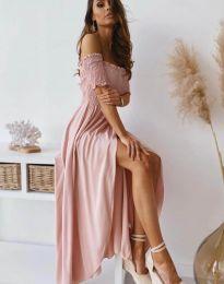 Дълга рокля в цвят пудра - код 11920
