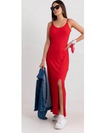 Дълга рокля с цепка в червено - код 3000