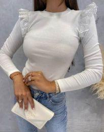 Дамска блуза с къдрички в бяло - код 1663