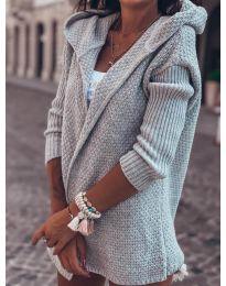 Къса плетена жилетка в сиво - код 7823