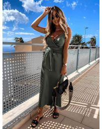Елегантна рокля в маслено зелен цвят - код 547