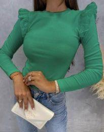 Дамска блуза с къдрички в зелено - код 1663