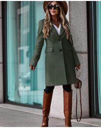 Дълго дамско палто  в зелено - код 4554