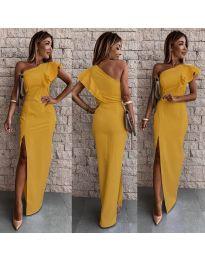 Дълга рокля по тялото в цвят горчица - код 745