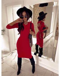 Дамска рокля в червено с ефектен гръб - код 5169