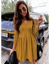 Дамска рокля в цвят горчица  - код 0060