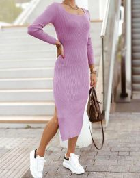 Изчистена дамска рокля в светлолилаво - код 2326