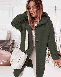 Дамска дълга плетена жилетка с качулка в масленозелено - код 2972