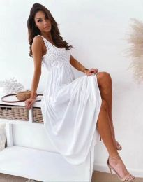 Дълга дамска рокля в бяло - код 4807