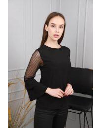 Ефирна дамска блуза в черно - код 0643