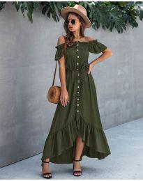 Свободна дълга рокля в маслено зелено - код 564