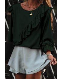 Дамска блуза в маслено зелено - код 6009